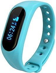 Cubot V1 - Ajustable Smartwatch Pulsera de Actividad (Impermeable, Bluetooth 4.0, Podómetro, Monitor de Sueño, Caloría, Anti-perdida, para Smartphone Android IOS Cubot Note S Rainbow Dinosaur Cheetah) (Azul)