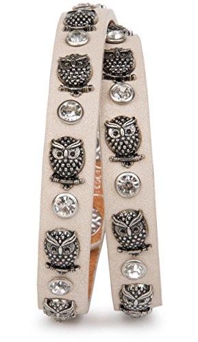 styleBREAKER Wickelarmband mit Eulen Nieten und Strass mit echtem Leder, Nietenarmband, Damen 05040019, Farbe:Creme-Beige