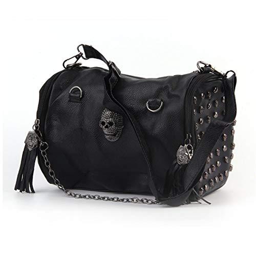 Alle Matched Frauen Schädel Niet Quasten Umhängetasche Handtasche Crossbody Schwarz Portable Geeignet für verschiedene Anlässe