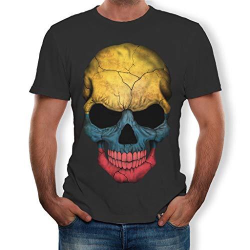 ZEZKT Herren T-Shirt Schädel Druck Top Shirt, personifizieren, Rundhals, Sport & Freizeit, Mode Herren T-Shirt Splash-Tinte 3D Druck Schädel Shirt Kurzarm Bluse Tops
