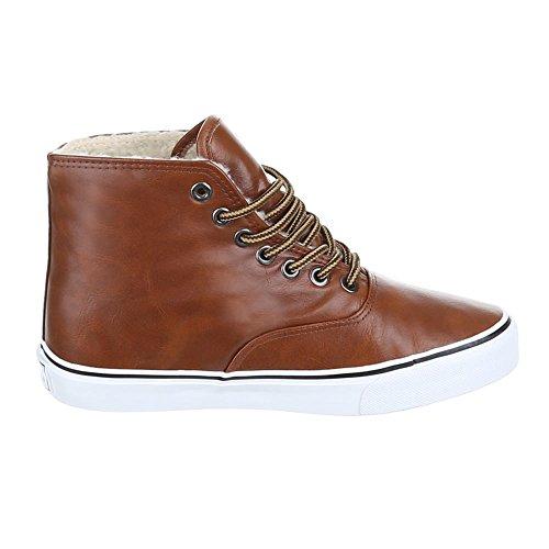Damen Schuhe Freizeitschuhe Gefütterte Schnürer Sneakers Camel
