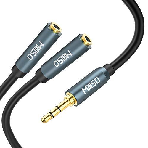 MillSO Audio Klinke Y Adapter 3,5 mm Kopfhörer Splitter Kabel - 3-polig Stereo Klinkenstecker zu 2X 3,5mm Buchse für Headset, Lautsprecher, Handys und Tablet -30CM -