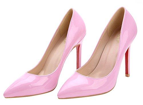 Guoar High Heels Spitze Zehen Damenschuhe Geschlossene Slip on Toe Pumps Büro-Dame Club Party Hochzeit B-Pink Lackleder