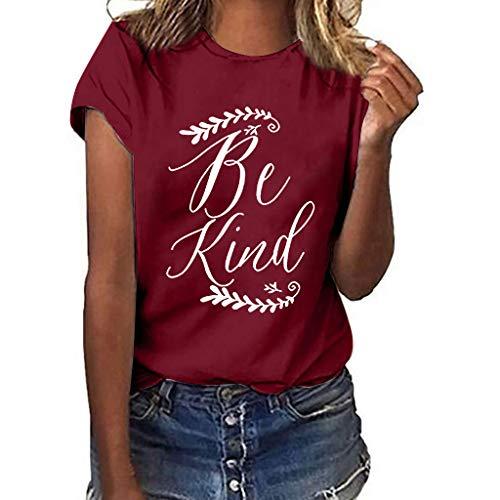 Wawer Damen T-Shirt  Frauen Mädchen Plus Size Print Shirt Kurzarm T-Shirt Bluse Tops, Brief 'Be Kind' Druck Shirt Sommer Shirt Tops T-Shirt Freizeit Zuhause