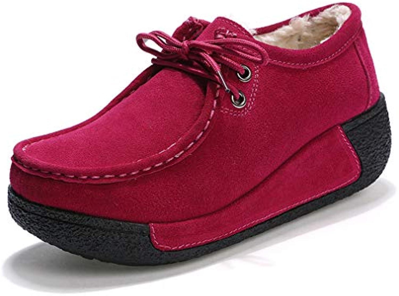 oroGOD Plus Velvetlace-Up Scarpe Casual Cuoio Testa Testa Testa rossoonda Scarpe A Dondolo Scarpe Da Donna Muffin Di Spessore... | Offerta Speciale  1e797e