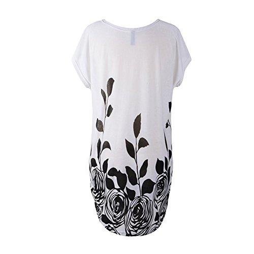 Katuo capo donna, maniche sciolte, vestito floreale misto cotone tee top White Black Rose B-11