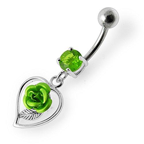 Bijou de corps anneau de nombril Partie supérieure avec pierre et motif Rose dans un cœur pendant en Argent Light Green