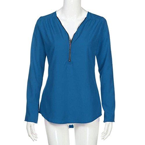 Rawdah T-Shirt Zippé à Manches Longues Nouveau Mode Femmes Casual Tops T-Shirt Col en V Lâche Haut à Manches Longues Blouse Bleu Clair