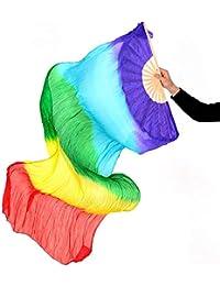 KRILY Belly Dance Silk Fan Color Belly Dance Fan Dance Long Fan Dancing Dance Performance,8pairs
