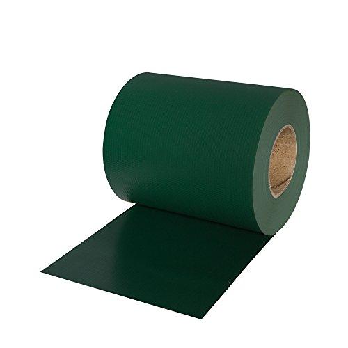 JAROLIFT PVC Sichtschutzstreifen 19 cm x 40 m mit 25x Befestigungsclipse, Sichtschutz grün