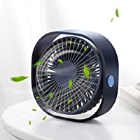 SMARTDEVIL Small Personal USB Desk Fan,3 Speeds Desk Desktop Table Cooling Fan with USB Rechargeable,Strong Wind,Quiet Operation,for Home Office Car Outdoor Travel (Blue)