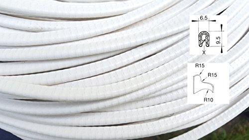 KS1-2W weiß Kantenschutz, Kantenschutzprofil Klemmbereich 1-2 mm Maße 9,5*6,5 mm Klemmprofil, Gummiprofil, U Profil