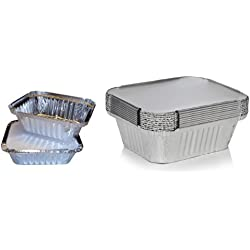 (Pack of 1) - 50 x Silver Foil Food Trays / Dishes / Containers & Lids - 120 x 145 x 49mm (No.2)