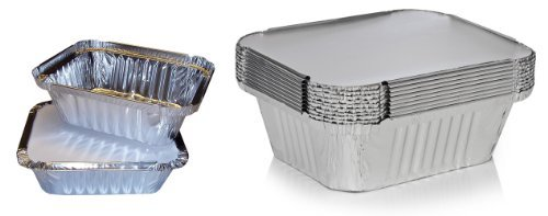 Foil Tray (50 x Silver Foil Food Trays / Dishes / Containers & Lids - 120 x 145 x 49mm (No.2) by Swoosh Supplies)