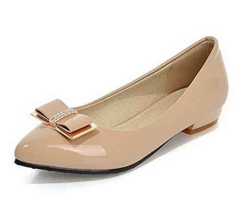 VogueZone009 Femme à Talon Bas Couleur Unie Tire Verni Pointu Chaussures Légeres Abricot