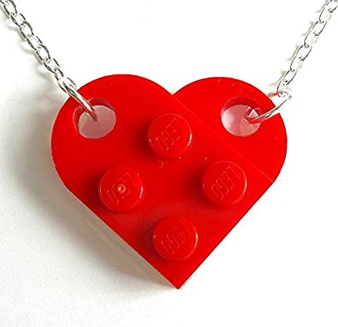 Love Heart Necklace made with LEGO plates bricks