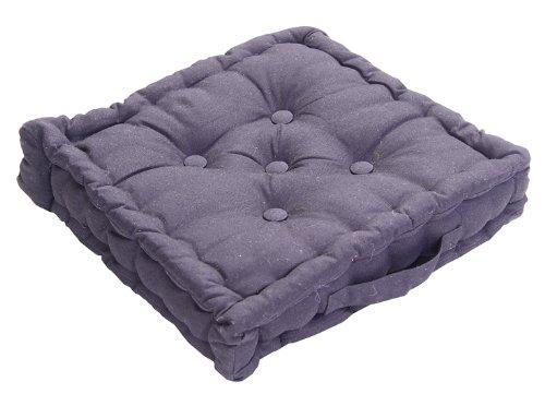 Homescapes Coussin de Chaise de couleur Noir fait en 100 % Coton de 50x50 cm pour Chaise de Salon et Chaise de Jardin