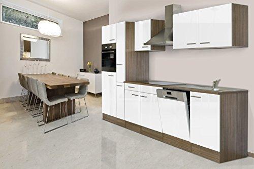 respekta Einbau Küche Küchenblock 310 cm Eiche York Nachbildung Weiß Backofen Ceran Geschirrspüler Apothekerschrank