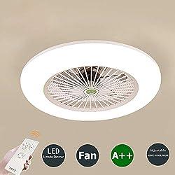 Ventilateur de plafond avec éclairage et télécommande Lampe de chambre à coucher silencieuse LED Plafonnier 3 températures Gradable Blanc Rond Salon salle à manger Décoration Ventilateur