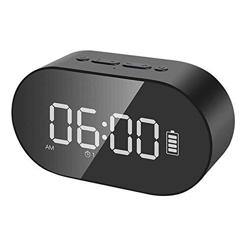 1-1 Wecker drahtlose Bluetooth-Lautsprecher übergewichtigen Subwoofer nach Hause kleine Audio-Computer Auto Karte Smart Voice Broadcast,Black