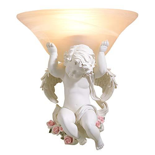Résine d'art européen lampes murales lampes led décoration de salon beige lampe de mur ange E27 led lustre éclairage appliques,A,Right