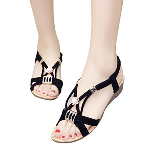 LHWY Damen Beaded leisure Lady Sandalen Peep-Toe Outdoor Schuhe Schwarz