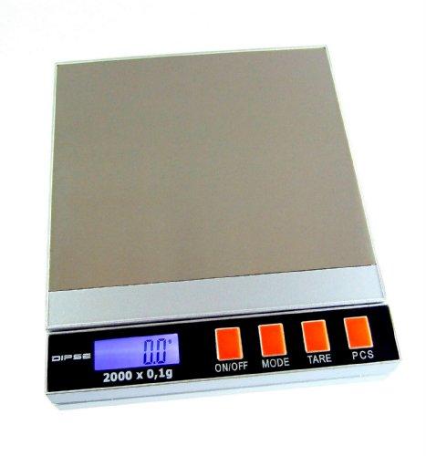 Dipse 2000 Digitalwaagen bis 2kg in 0,1g Schritten mit Batterie - / Netzteil- Betrieb - Waage im Retro-Design