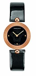 Versace Eon Women's Quartz Watch with Black Dial Analogue Display and Black Plastic Strap 94Q80D008 S009