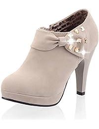 286a6a80d9767 Minetom Mujer Botines Otoño Invierno Botas Del Bowknot Zapatos De Las  Bombas Tacón Desnudo Delgado boots