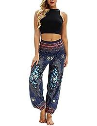 850626c1a201 Donna Cavallo Basso Stile Harem Pantaloni Etnico Pantalone Aladino Pants con  Comoda Cintura Elastica