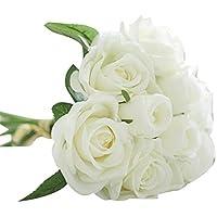 Fami 9 têtes de soie artificielle fleurs fausses feuilles rose mariage décoration florale bouquet (Blanc)