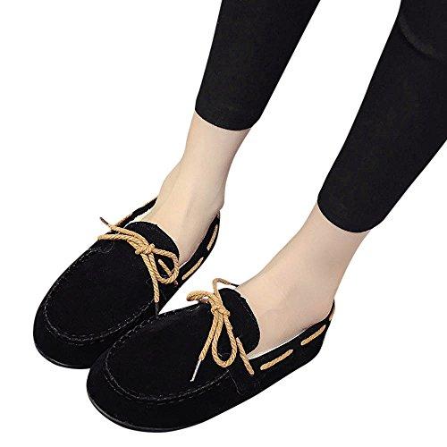 Beikoard -20% scarpe ginnastica appartamenti autunno inverno caldo appartamenti in gomma morbida rotonda casuali piselli piatti(nero,35)
