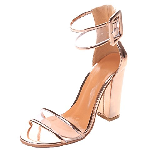Lalang Damen Transparente Knöchelriemen Stilettos Sandalen Womens High Heels Schuh (EU 37, Golden) (High Flats, Heel)