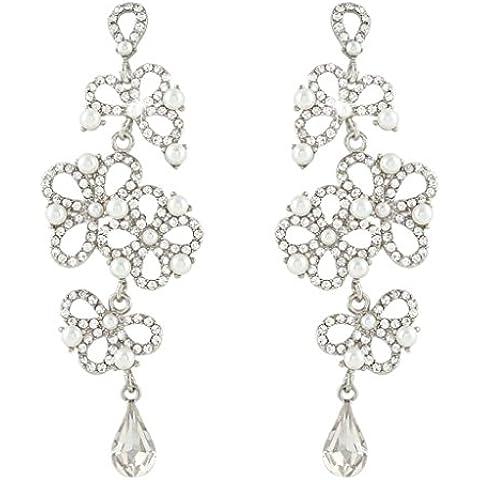 EVER FAITH® Wedding Teardrop crema perla del fiore orecchini di cristallo austriaco
