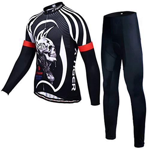 YRX Autumn Pro Langarm-Radtrikot Schädel Retro Männer volle Hülsen-Cycles Shirt Tragen Teams Ropa De Ciclismo Lange Bike Jersery,XXXL -