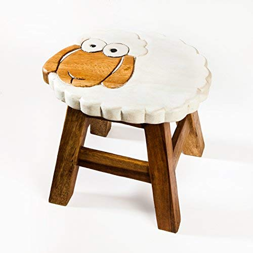 Kinderhocker, Schemel, Kinderstuhl massiv aus Holz mit Tiermotiv Schaf, 25 cm Sitzhöhe für unsere Kindersitzgruppe -