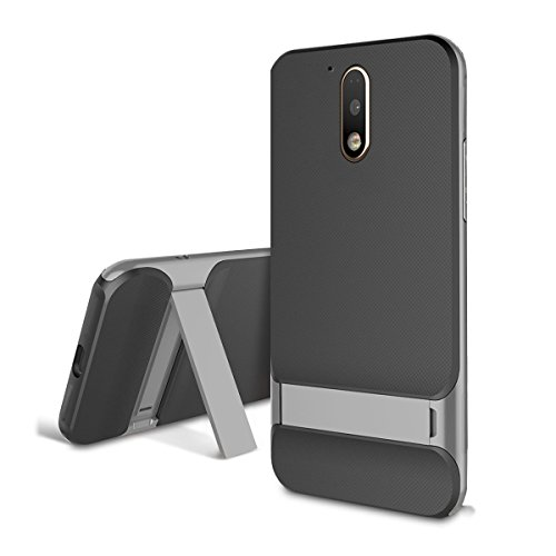 Kapa Kick Stand Shockproof Dual Layer Back Case Cover for MOTO G4 PLUS (Moto G Plus, 4th Gen) - Grey
