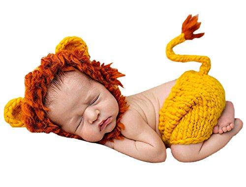 Feoya Kinder Baby Foto Löwe Kostüm Fotografie Prop Handarbeit Bekleidungsset Stricken Tiere Kostüm Baby Junge Mädchen Fotoshooting Set Für 3-4 Monate - Gelb