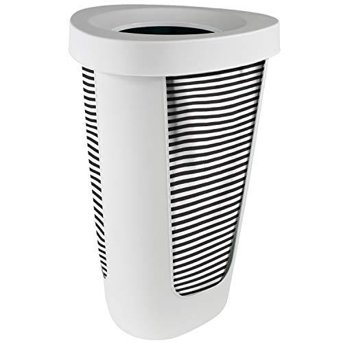 Rotho FABU Wäschekorb 50 Liter Kunststoff Weiß mit Baumwoll Wäschebeutel Schwarz/Weiß gestreift 50l (40,8x40,0x62,1cm)