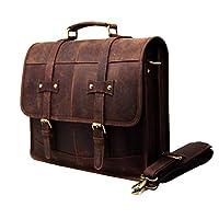 """16"""" Mens Briefcase for Laptop Genuine Leather Messenger Bag for Men Satchel Distressed Stylish Professional Shoulder Bag"""