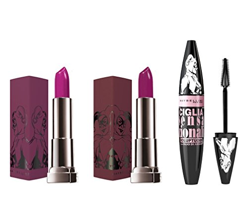 Maybelline New York Kit Make Up Completo di 2 Rossetti e 1 Mascara Collezione in Edizione Limitata Be That Girl, Harley Quinn