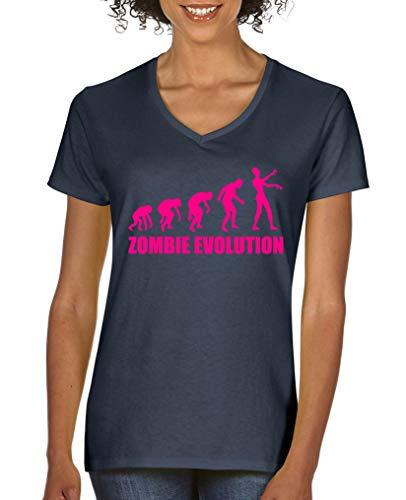 Comedy Shirts - Zombie Evolution - Damen V-Neck T-Shirt - Navy/Pink Gr. XXL