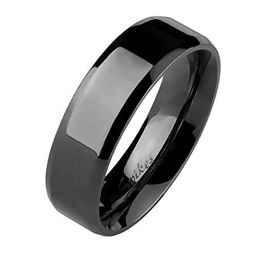 Mianova Unisex Band Ring Edelstahl Poliert Bandring Ehering Freundschaftsring Herrenring Damenring Partnerring Damen Herren Schwarz Größe 59 (18.8) 8mm Breit