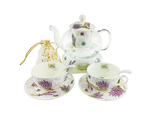 6 Piece European Floral Tea Set,Lavender Pattern Bone China Tea Set Service Coffee Set,Heated Glass Teapot,For Household,Wedding
