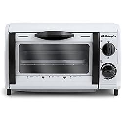 Orbegozo HO 800 A - Mini horno tostador, capacidad de 8l, potencia 800 W, temporizador, recogemigas, color blanco