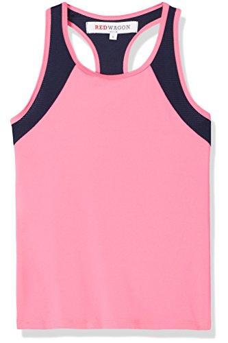RED WAGON Mädchen Sport-Top aus Mesh, Rosa (Azalea/Navy), 128 (Herstellergröße: 8 Jahre)