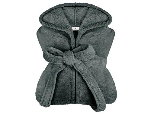 extra weicher Kapuzen-Bademantel aus Kuschelfleece - erhältlich in 11 modernen Farben und 5 Größen - unisex & wadenlang, L, anthrazit