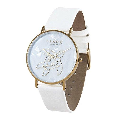 FRANK London Damen Gelb Gold Meer Schildkröte Quarz Uhr mit weißem Lederband und Perlmutt Zifferblatt