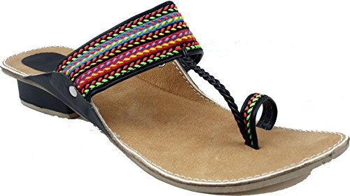 Fancy Kolhapuri Chappal For Women|Colorfull Kolhapuri Chappal with Hills|Black(5)  available at amazon for Rs.299