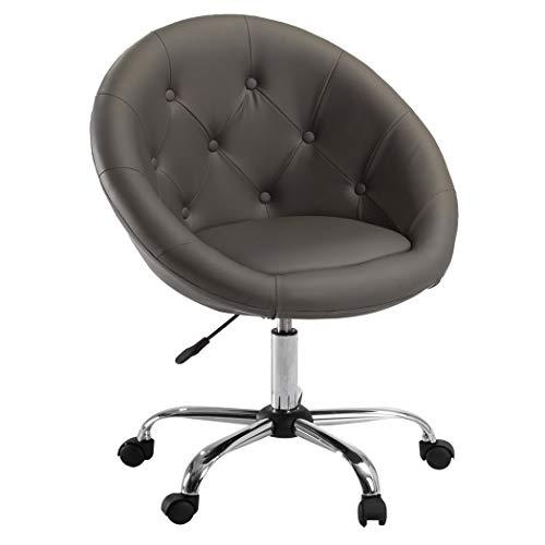 Drehstuhl Schreibtischstuhl Schwarz Rollhocker mit Lehne Arbeitshocker Kosmetikhocker Duhome 0531